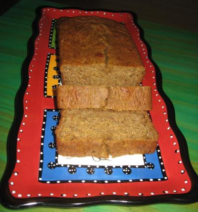 Pumpkin Bread displayed on our colorful Turkish serving plate