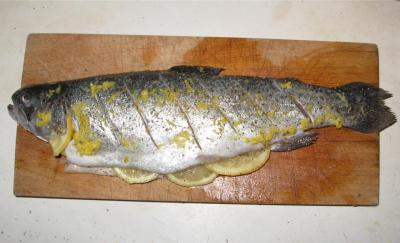 Whole Rainbow Trout with Lemon Slices
