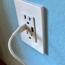 USB wall receptacle feeding LED strings